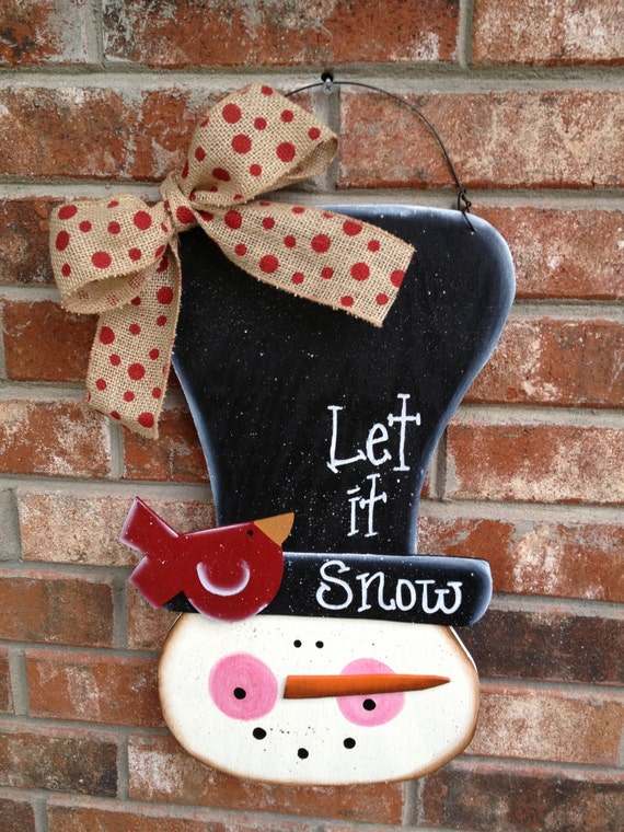 Whimsical Snowman Door Hanger Let It Snow Sign Christmas Wood