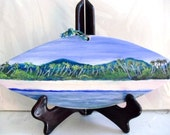 Beach Decor- Original Painting on Wood- View of Mountains and beach- Rincon Puerto Rico