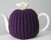 1940'S Traditional Purple and Cream Knitted Tea Cozy/Cosy