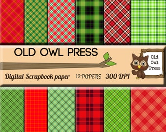 Plaid Paper, Christmas Paper Pack, 12x12 papers, 12  papers, Digital Scrapbook, Paper Pack, Scrapbooking Papers, instant download
