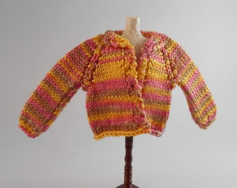 Hand Knitted Silk Sweater , 1 inch Scale Dollhouse Miniature