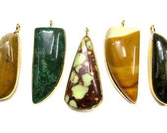 24 kt. Gold Plated Gemstone Cabochon Pendants , 5 piece of fine quality gem stone Pendant , Cabochon gemstones pendants Jewelry supplies