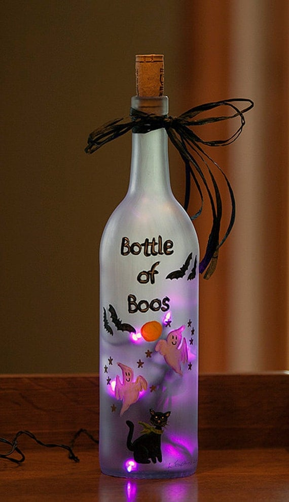 Halloween Bats Lighted Wine Bottle Hand Painted By