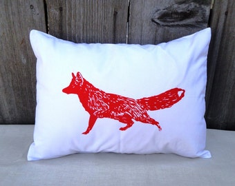 White Pillow Cover with RED FOX