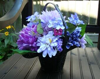Silk Flower Basket - Basket - Purple - Silk Flowers - Arrangement - Centerpiece - Mums - Basket