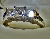 Gorgeous 14K  3 Princess Cut Diamond Ring  One ct