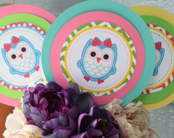 LITTLE OWL Theme Birthday or Baby Shower 3 Piece Centerpiece - Party Packs Available