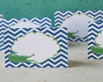 PREPPY CHEVRON ALLIGATOR Happy Birthday or Baby Shower  Buffet Cards Table Tents Food Labels {Set of 8} - Party Packs Available