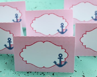 """ANCHOR'S AWAY Nautical Girl Themed """"It's a Girl"""" Baby Shower or Birthday Buffet Cards Table Tents Food Labels {Set of 8}"""