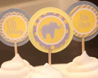YELLOW GREY  ELEPHANT Baby Shower or Happy Birthday Cupcake Toppers Oh Baby