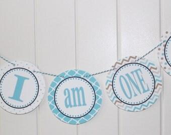 PENGUIN WONDERLAND Happy Birthday Highchair Banner I Am One Aqua Taupe