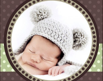 Baby Bear Pom-Pom Hat, PDF PATTERN, Crochet, SIZE 3-6 months