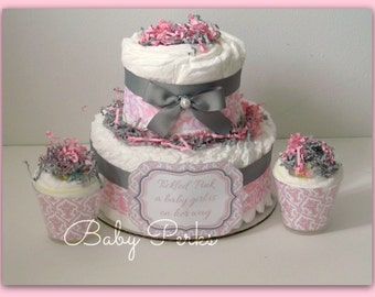 Pink Damask Diaper Cake, Pink and Grey Baby Shower , Baby Shower Decorations , Grey and Pink Diaper Cake