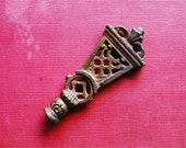 xx Reserved for Harrison xx Deco Lattice Finial 1920s Chippy Burnished Gold on Metal