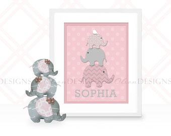 Stacked Elephants Custom Nursery Art - 8x10 - Digital Print