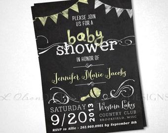 Chalkboard Baby Shower Invite - Yellow - DIY Printable