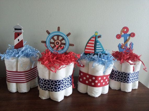 4 nautical theme mini diaper cakes for Baby shower nautical decoration
