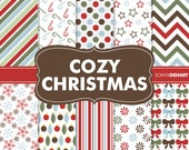 90% OFF SALE Digital Paper Cozy Christmas Pack Printable Scrapbooking Papers Clipart Patterns