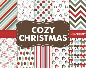 70% OFF SALE Digital Paper Cozy Christmas Pack Printable Scrapbooking Papers Clipart Patterns Clipart SALE
