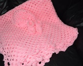 Crocheted Baby Granny Square Afghan in Pedal Pink with matching Beanie & Booties
