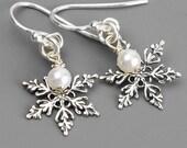 Sterling Silver Snowflake Earrings - White Swarovkski Pearl Drop Earrings - Winter Wedding