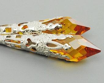 Topaz Earrings - Silver Victorian Earrings - Gold Yellow Swarovski Crystal Drop Earrings - Long Silver Earrings