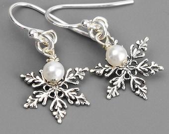 Sterling Silver Snowflake Earrings - Swarovski Earrings - Pearl Drop Earrings Silver - Snowflake Jewelry - Winter Earrings - Gift for Her