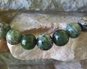 Round Large Hole Bead 12MM Chinese Jasper 4MM Hole Fits Leather 9 Beads