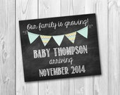 Chalkboard sign, pregnancy announcement, photo prop, our family is growing