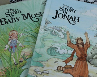 "Vintage Lot of 2 "" Alice In Bibleland Books"" The Story of Baby Moses and The Story of Jonah 1984, 1989"