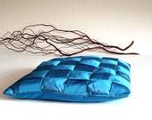 Braided pillow, taffeta cushion, cushion cover in blue taffeta, 15x15 inches