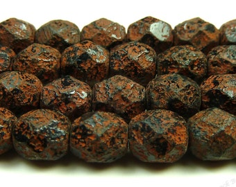 6mm Jet Black Textured Copper Stone Picasso Czech Glass Beads - 25pc Strand - Round, Faceted - BE46