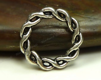 15 Braided Flat Round Links Double Sided 14mm Antique Silver Tone Metal - Connectors, Findings - BM3