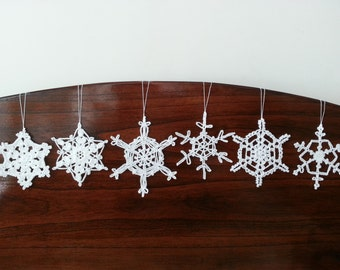 6 Crocheted Snowflake Christmas Decorations Ornaments Wall Hanging Modern Wall Art Baby Mobile Parts Home Decor