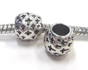 3 Beads - Cross Barrel Silver European Charm Bead E1041