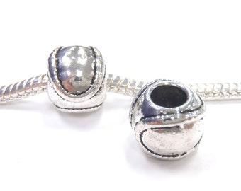 3 Beads - Baseball Sports Ball Silver European Bead Charm E1180