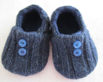 Infant's navy wool slippers fleece-lined 6-9 mos. OOAK  RTS Baby shoes Infants shoes