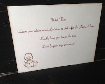 Duck Wish tree instruction card-Gender neutral baby shower-baby duck wish tag instruction