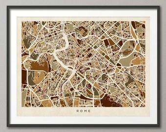 Rome Italy City Street Map, Art Print (443)