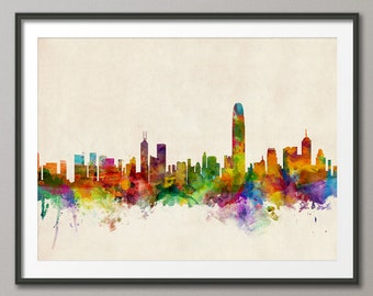 Hong Kong Skyline, Hong Kong China Cityscape Art Print (324)