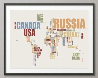 Typographic Text Map of the World Map, Art Print (733)