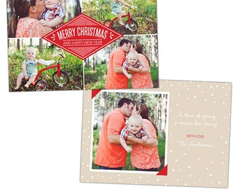 INSTANT DOWNLOAD - Christmas Card Photoshop template - e910