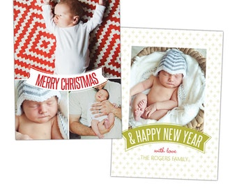 INSTANT DOWNLOAD - Christmas Card Photoshop template - e911