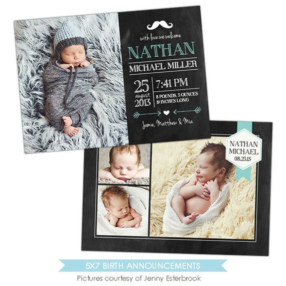 birth announcement template baby nathan e902. Black Bedroom Furniture Sets. Home Design Ideas