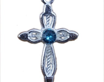 3 Cross Charms Blue Rhinestone 27 x 16 mm Silver Plated  - ts286