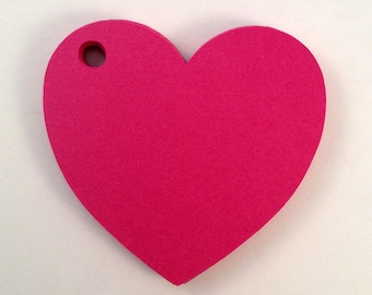 50 Blank Heart Shaped Tags . Heart Tags . Valentine Tags . Pink and Red Paper Heart Tags. Heart Gift Tags. Labels . Heart Wedding Favor Tags