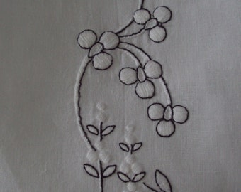 Vintage Linen Tea Towel Hand Embroidered Stylized Cherry Blossoms