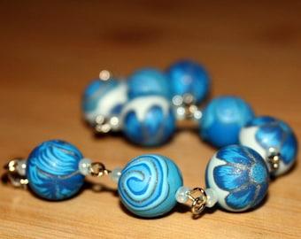 Blue Garden Polymer Clay Bracelet