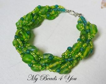 Beaded Jewelry, Bracelet,Spiral Bracelet,Embellished Bracelet,Green Bracelet, Rope Bracelet, Seed Bead Bracelet,Beads,Gift for Her