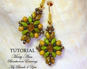 PDF Tutorial Beaded Earrings,SuperDuo Tutorial,Seed Bead Earrings Pattern,Earring Tutorial, Beading Tutorial, How to Bead Earrings,Tutorial